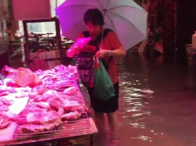 [视频]广州暴雨 老广淡定,水浸中买肉